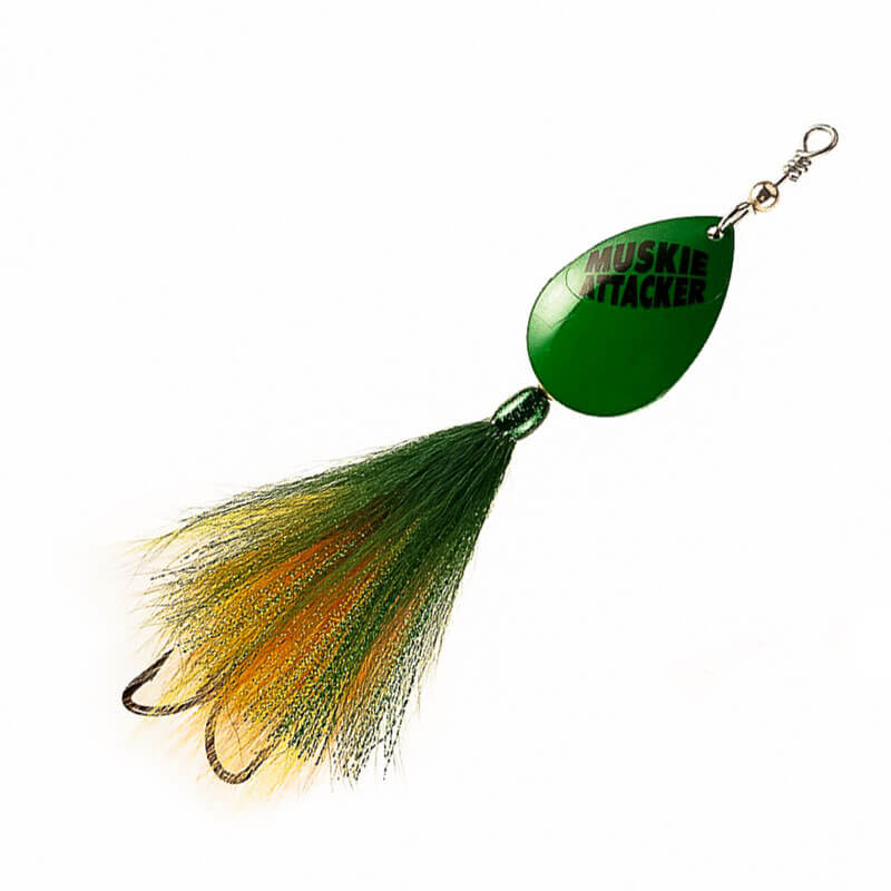 Muskie Attacker Cable Bait - Green Perch Color - MuskyChasers