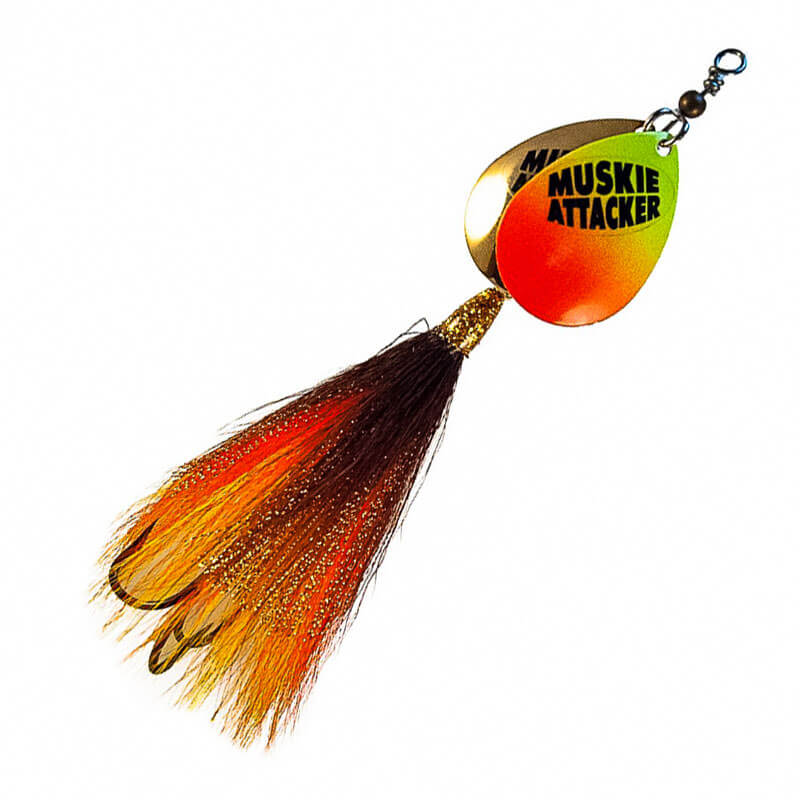 Muskie Attacker Double 7 Bait - Yellow Orange Brown Color - MuskyChasers