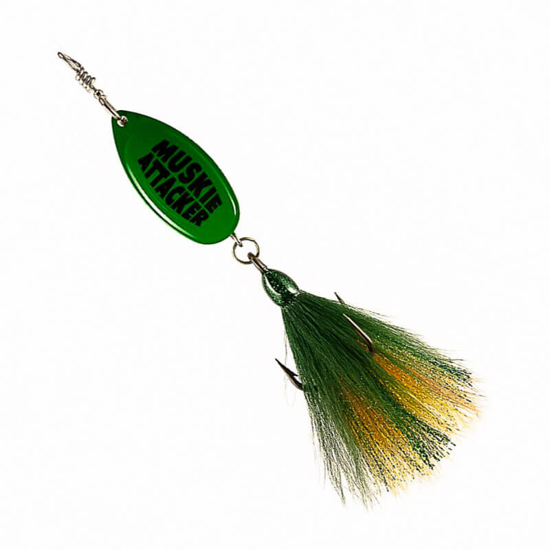 Muskie Attacker Frenchie Bait - Green Perch Color - MuskyChasers