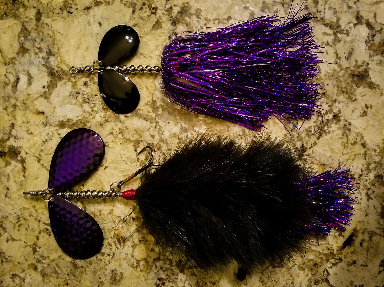 Sasquatch Lure Company - Double10 - Double Marabou & Double8 Tinsel Combo, Black Purple