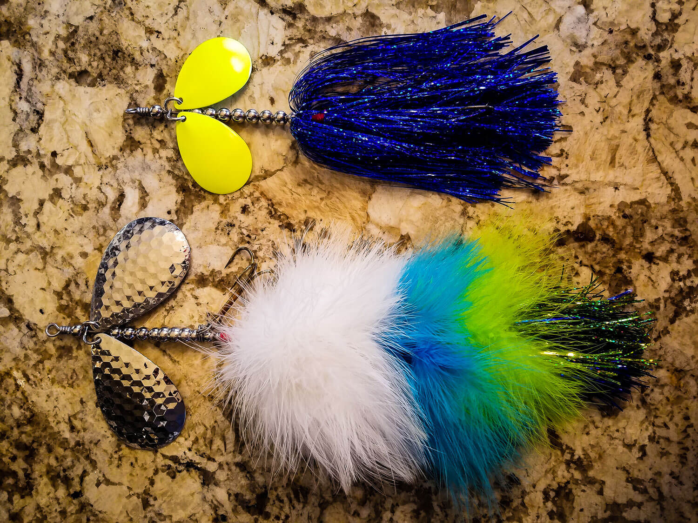 Sasquatch Lure Company - Double10 - Double Marabou & Double8 Tinsel Combo, White, Blue, Green, Blue