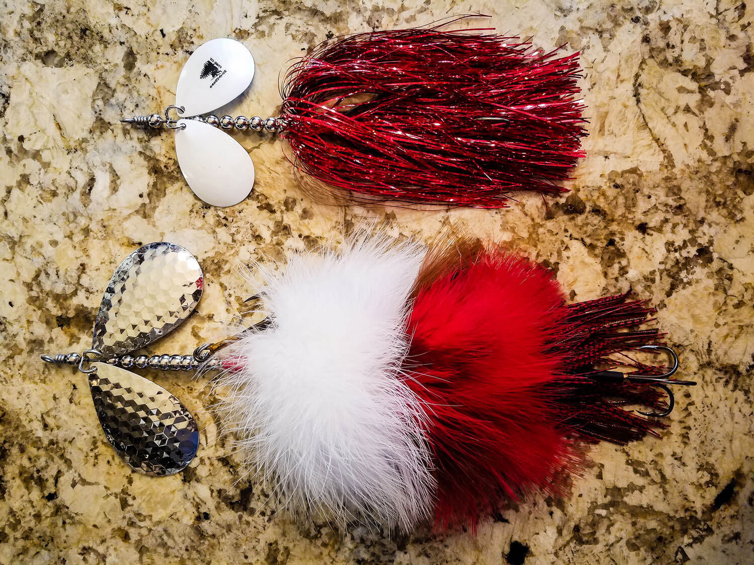 Sasquatch Lure Company - Double10 - Double Marabou & Double8 Tinsel Combo, White, Brown, Red Red