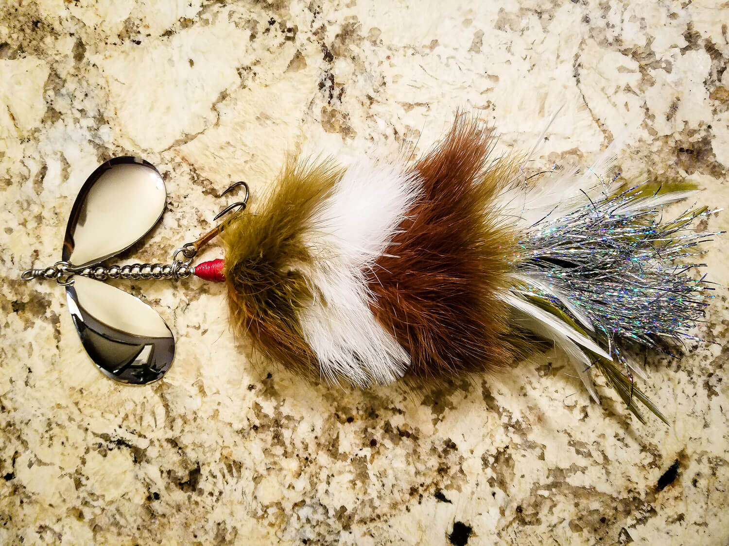 Sasquatch Lure Company - Double 10 - Double Marabou - Olive, Brown, White