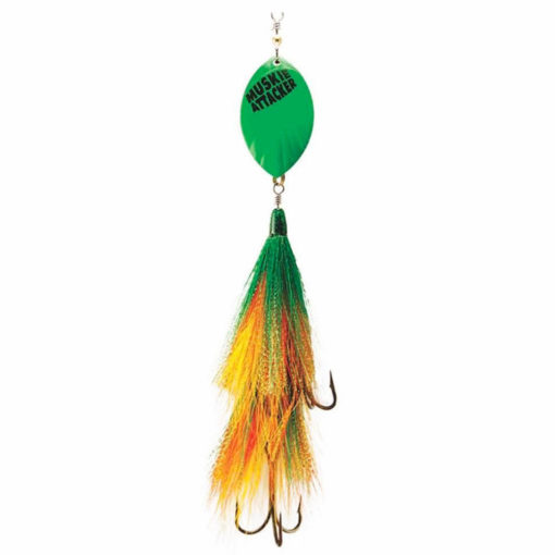 Muskie Attacker TonyTail bait - Green Perch color - MuskyChasers